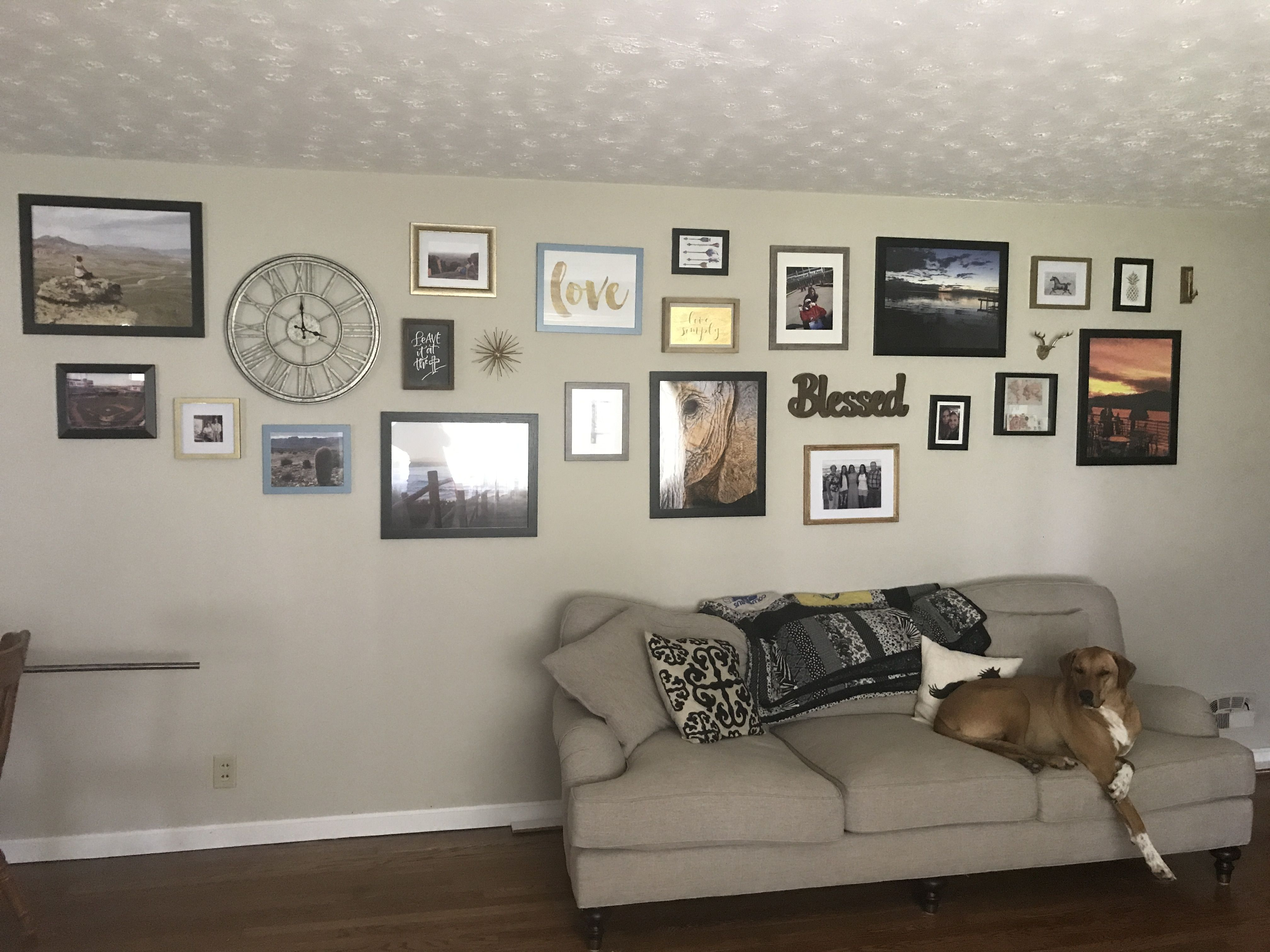 Gallery Wall For A Long Fill With Frames Of Alternating Colors Turned Out So Good Gallerywall Framewall