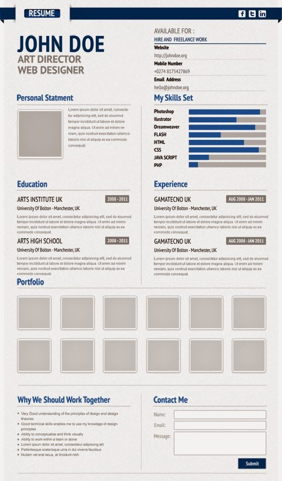 virtual resume template that can be used for presentation yourself online but with little work you can use it for paper resume as well
