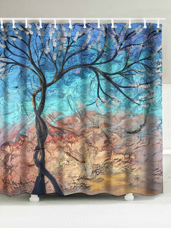 Tree Print Artistic Waterproof Fabric Shower Curtain | Waterproof Fabric, Tree  Print And Fabrics