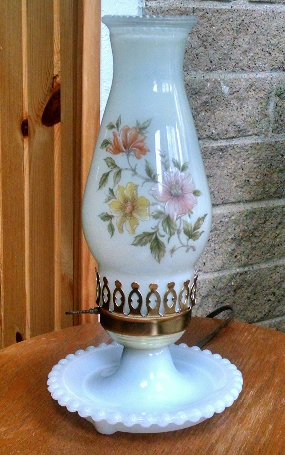 Milk Glass Hurricane Lantern Lamp With Hand Painted Floral Shade