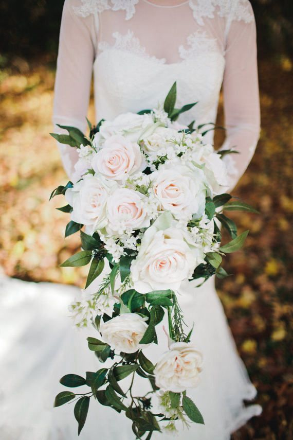 Cascade Wedding Bouquet Blush Rose Apricot Italian Ruscus Waxflower Champagne