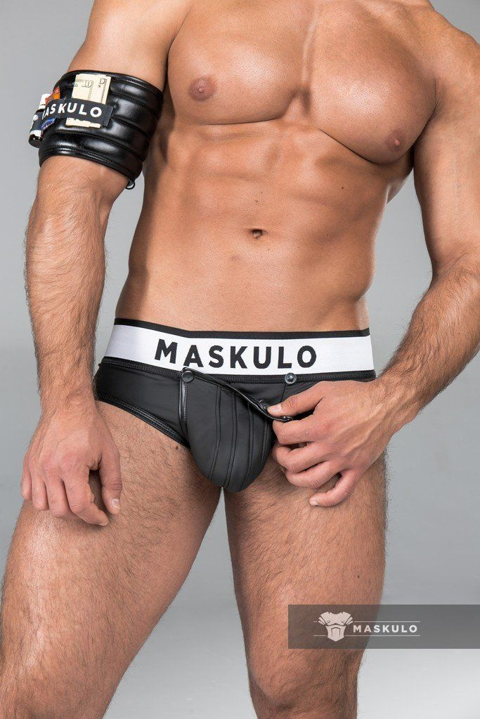 Armored. Rubber look Briefs. Detachable pouch. Black  1213aab26