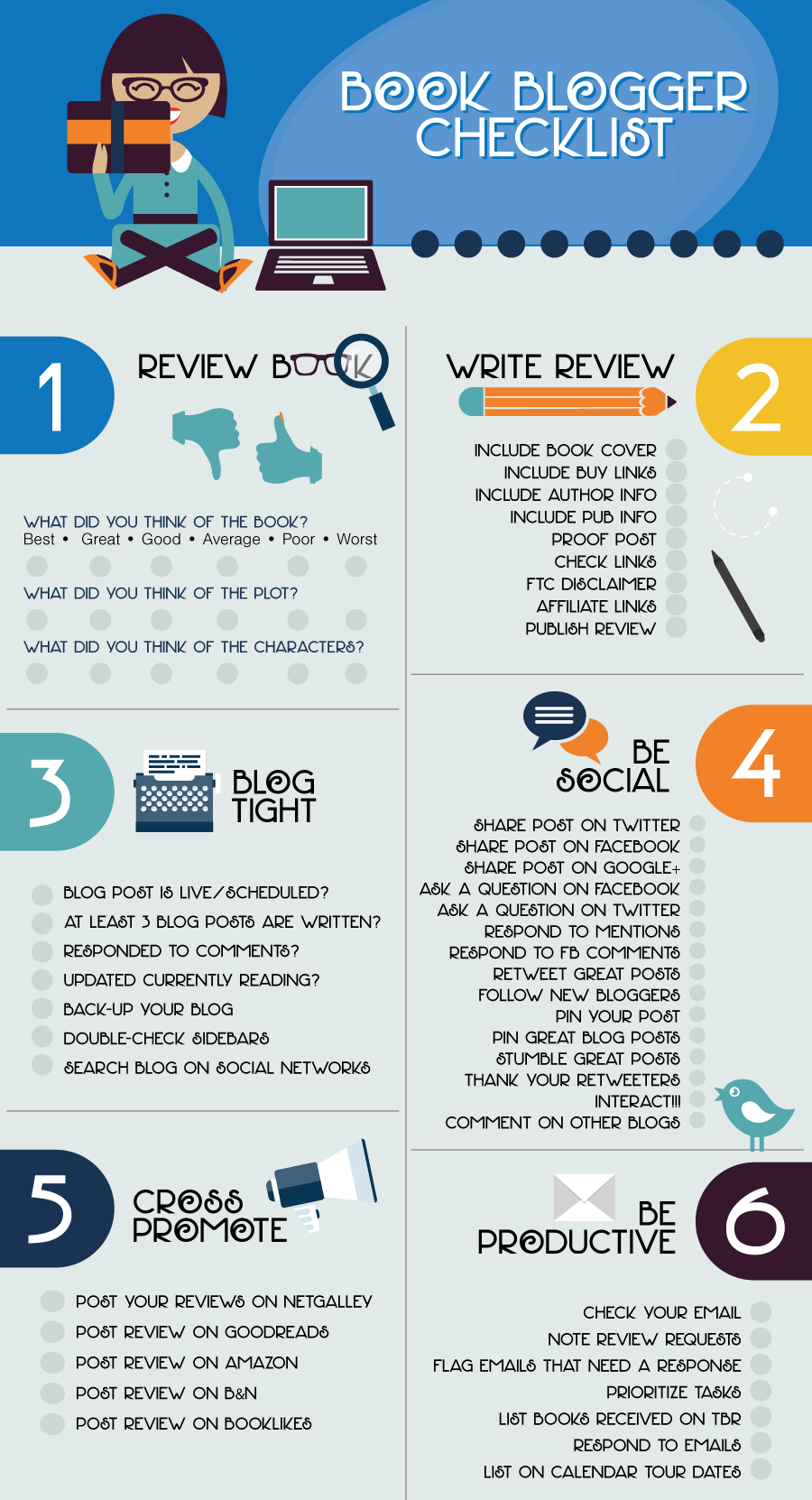 Book Blogging Checklist InfoGraphic Book review blogs