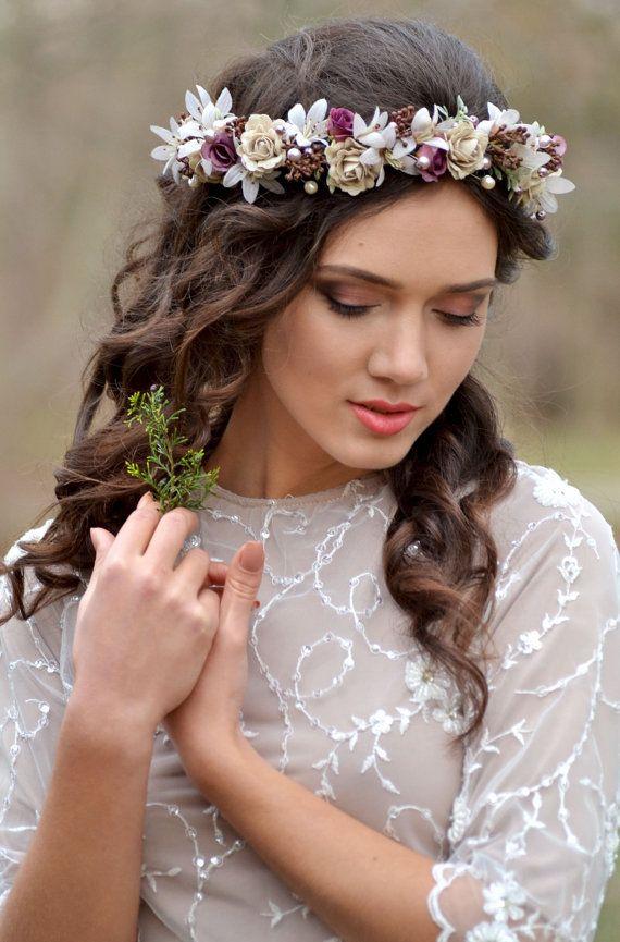 Flower Pearl Headpiece Rustic Vintage Ivory Wreath Ash Purple Cream Wedding Floral Crown L Floral Crown Wedding Wedding Headpiece Vintage Wedding Headpiece