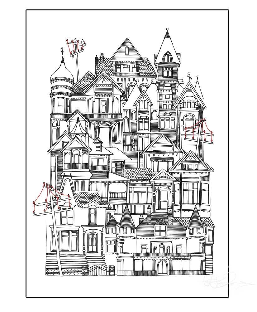 Birdtown Illustration By Hanna Karlzon Shop Kleurplaten
