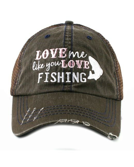 Womens fishing hats katydid women 39 s love me like you for Fishing trucker hats