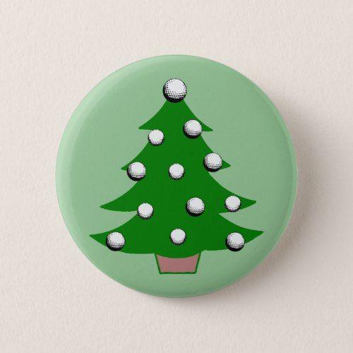 Golf Ball Christmas Tree Button Zazzle Com Christmas Tree Golf Ball Golf Inspiration