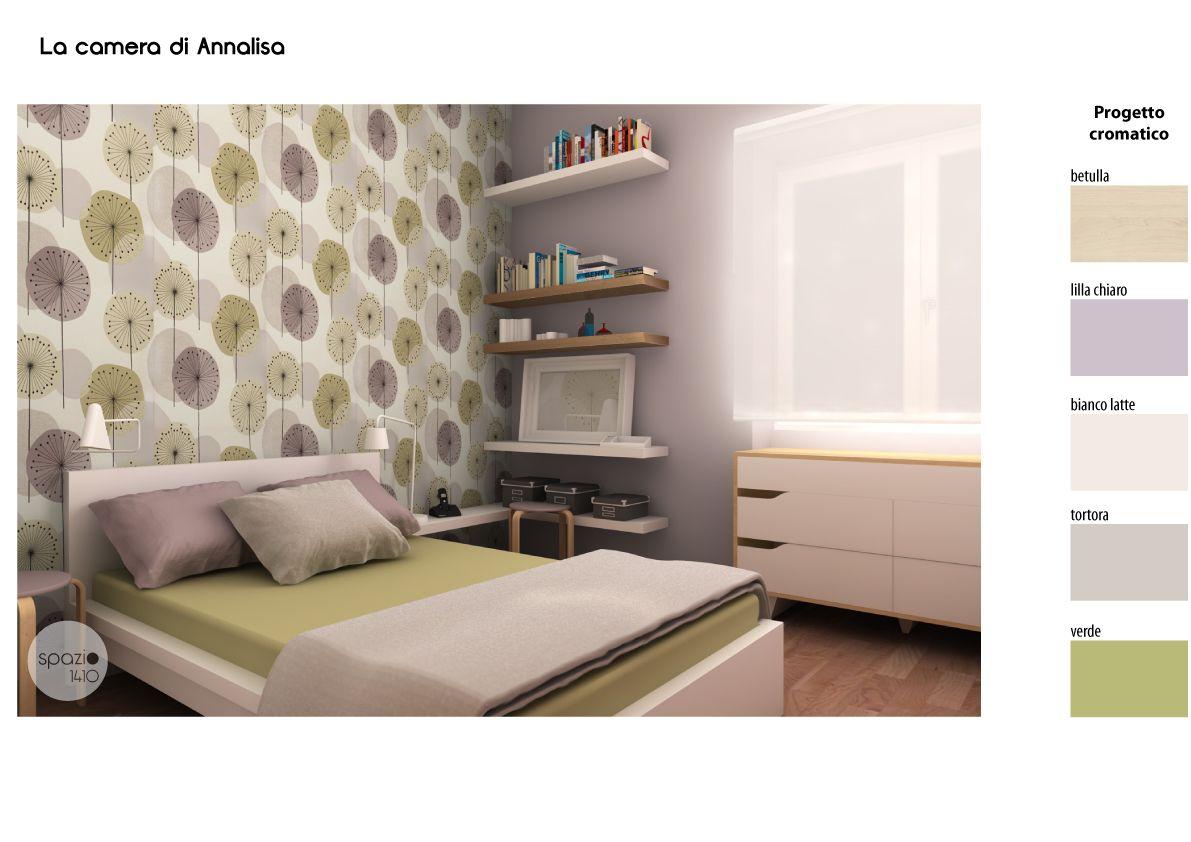 Una carta da parati dalle delicate tonalit personalizza la camera da letto mensole in legno - Mensole camera da letto ...