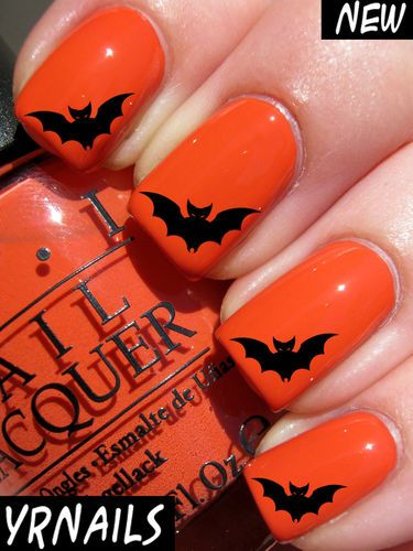 Nail Wraps Nail Art Water Transfers Decals Halloween Bat H003 | eBay