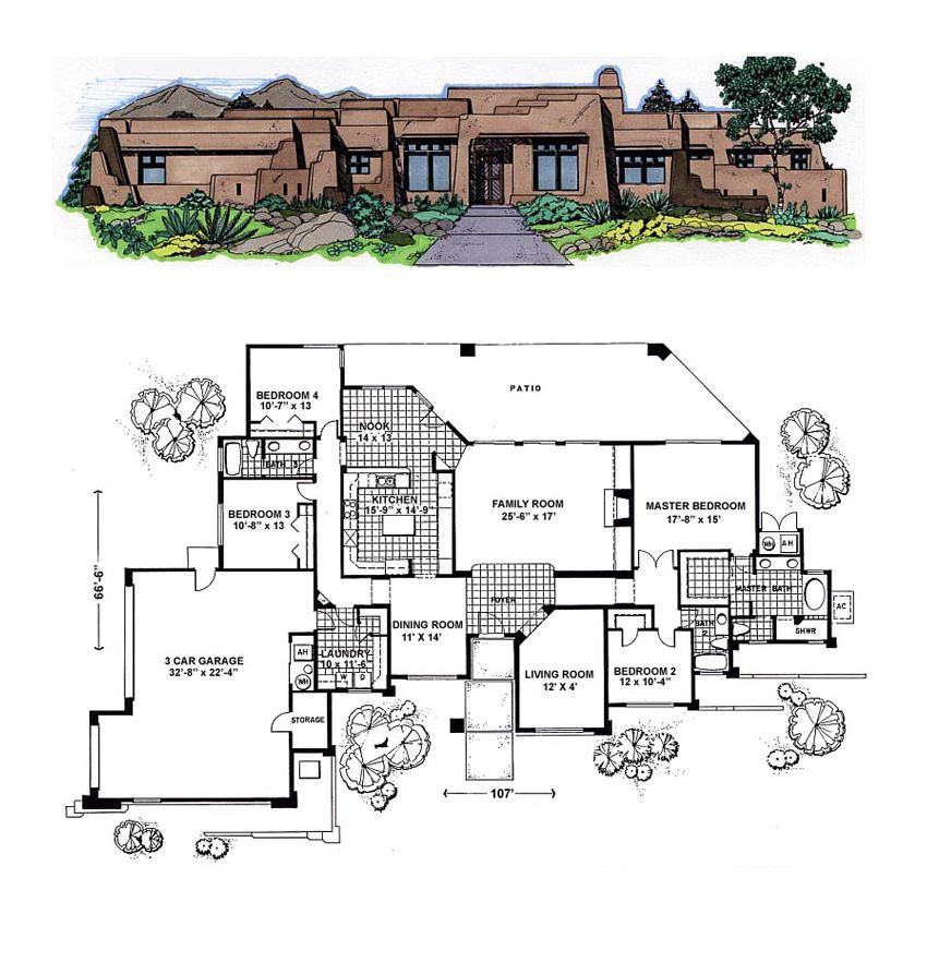 Southwest Style House Plan 54642 With 4 Bed 3 Bath 3 Car Garage House Plans House Plans With Pictures Southwest House