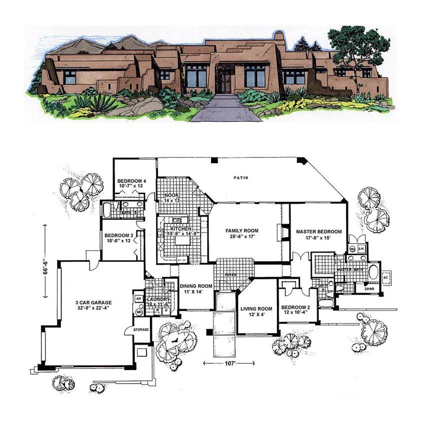 Southwest Style House Plan 54642 With 4 Bed 3 Bath 3 Car Garage House Plans With Pictures Southwest House Home Design Floor Plans