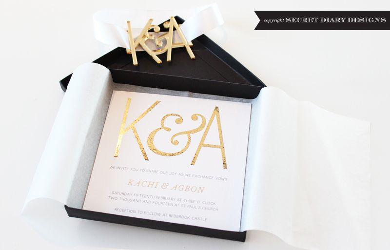 Black Gold Boxed Invitation Monogram 02 Fullscreen Jpg Box Invitations Invitations Wedding Stationery