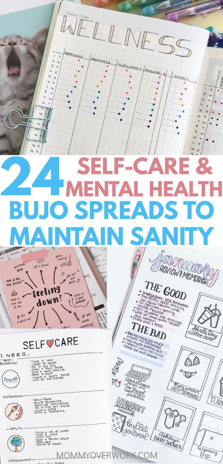 24 Self Care Bullet Journal Ideas for OPTIMAL MENTAL HEALTH Give yourself what you deserve with these SELF CARE BULLET JOURNAL MENTAL HEALTH ideas and spreads. Squeeze me time into your busy schedule with a diy spa day, beauty / skincare routine, or a chart of great ideas to turn to when you need it. Turn it into a healthy 30-day challenge if that works. Use emotional wellness and mood trackers to understand your overall mental health. Boost confidence, mental mindset, and intentionality in your life with this list of pages to add to your collection.