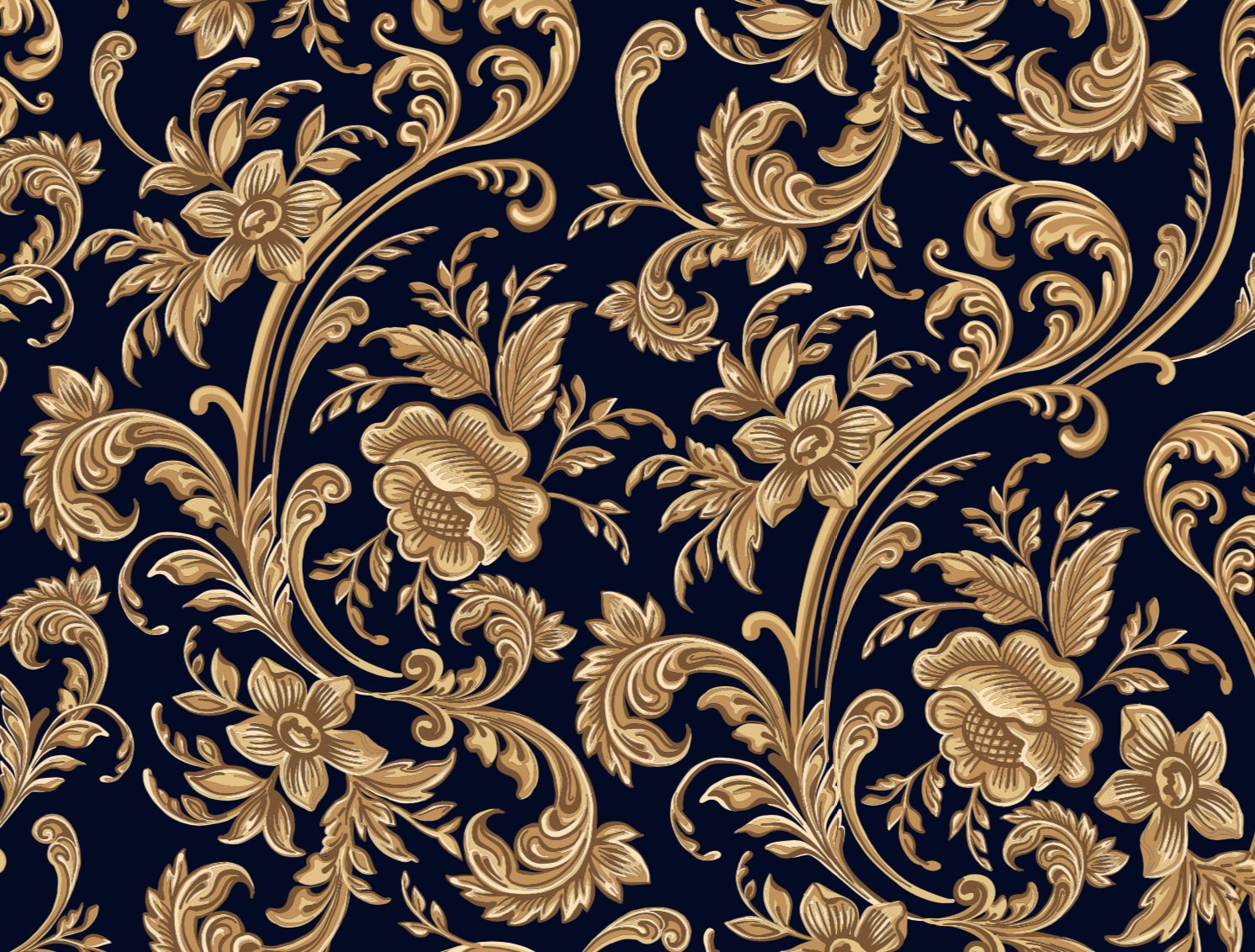 Design Inspiration Seamless Pattern Of A Decorative Gold Floral