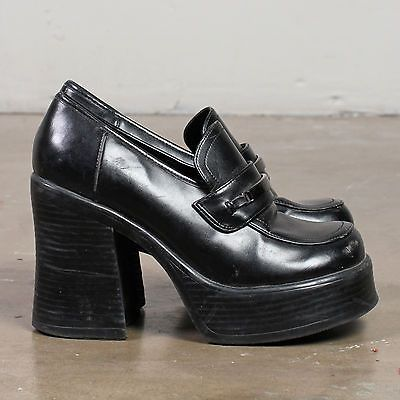 4a0aa5d41f5 vtg PLATFORM LOAFER shoes CHUNKY heel black leather club kid goth preppy 90s  7
