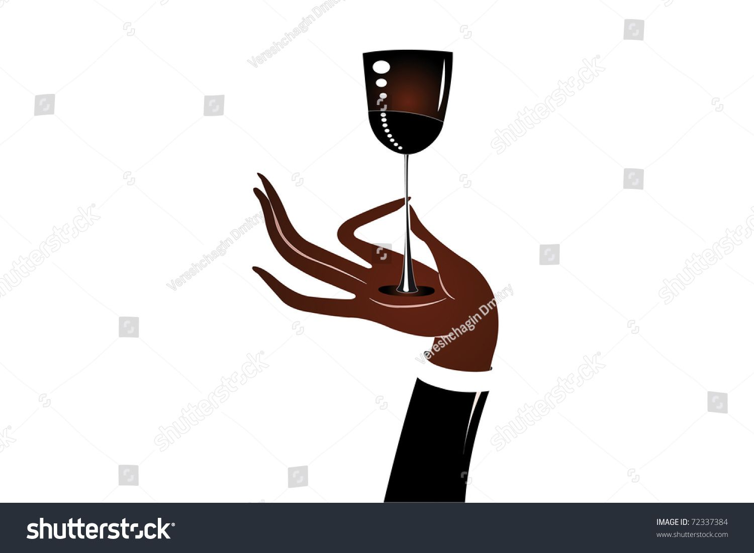 An Illustration Of A Hand Holding A Wine Glass Under The White
