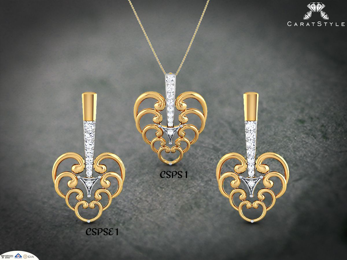 Start a trend on wednesday withupid pendant earring set diamond