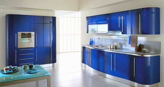 Modern Kitchen Cabinets Blue lacquered #kitchencabinets | home decor | pinterest | the o'jays