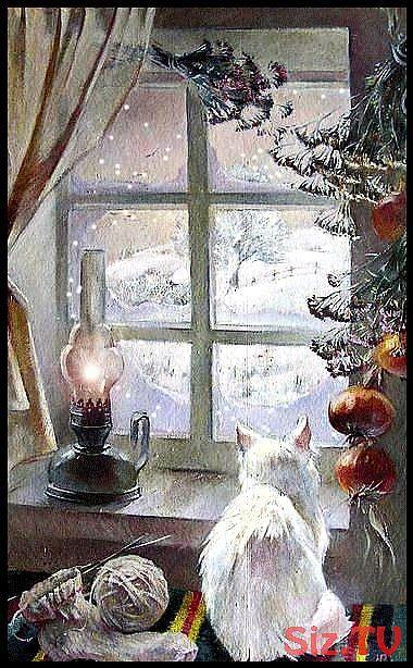 Eine weiße Katze, die ihn durch das Fenster schneien sieht. Was gibt es Schöneres als das ……