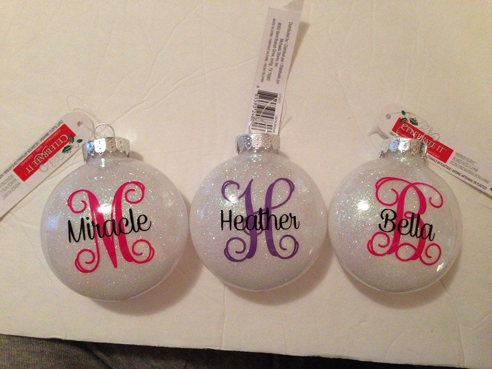 Vinyl On Glittered Plastic M M Shaped Plastic Ornaments Vinyl Ornaments Christmas Ornaments Christmas Vinyl