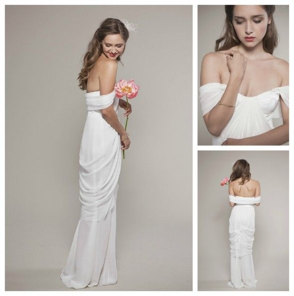 Draped Wedding Gown, really like the off the shoulder but i think its a little too sexy