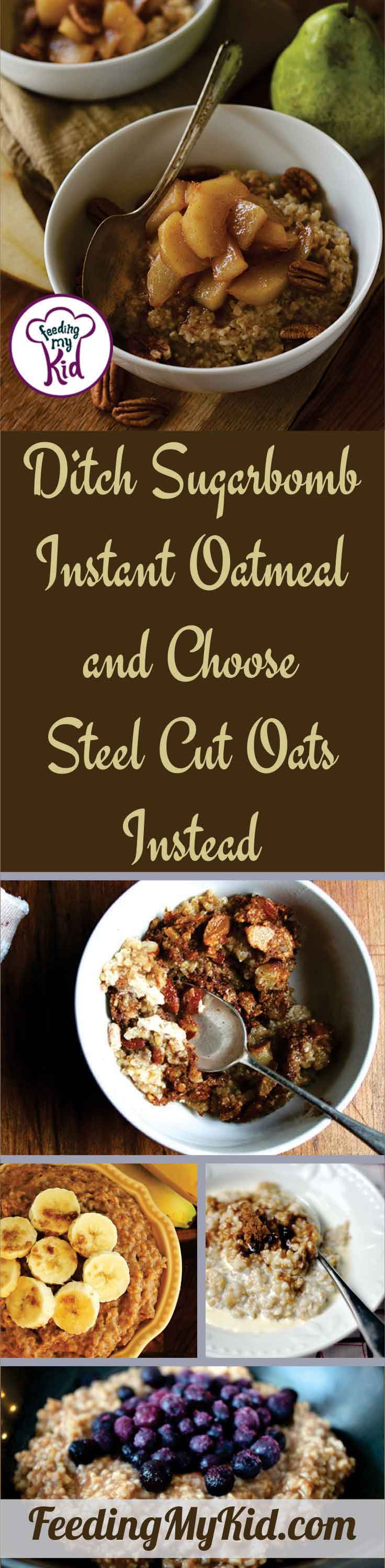 Ditch the instant oatmeals and try steel cut oats instead! They're way better for you and can cook in the same amount of time in the microwave.