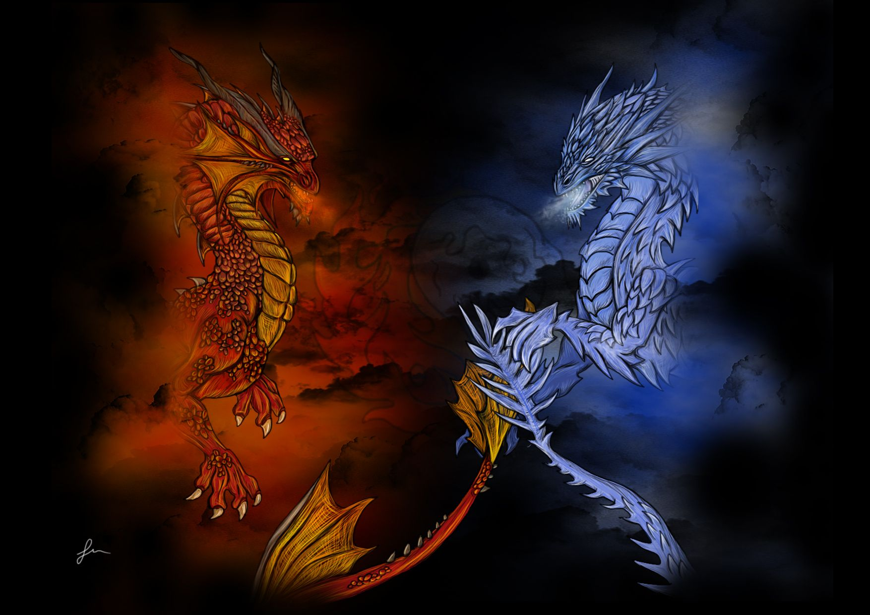 giant giant fire dragon vs ice dragon - photo #25