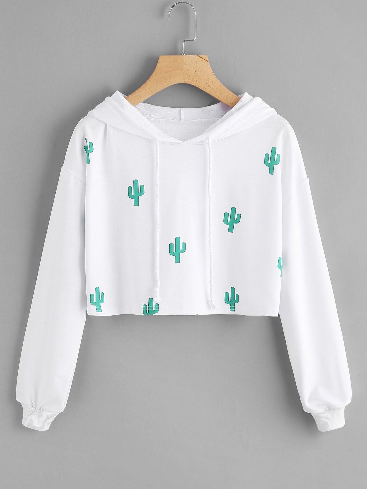3fe9e4da62b ... to shop online today! Cactus Print Hooded Crop SweatshirtFor Women-romwe