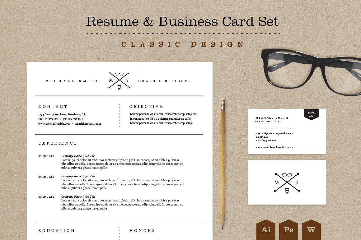 Classic Resume  Business Card Set By Skyboxcreative On