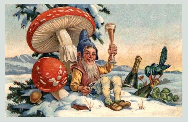 Старинные открытки гномы, эмодзи волшебная новогодняя