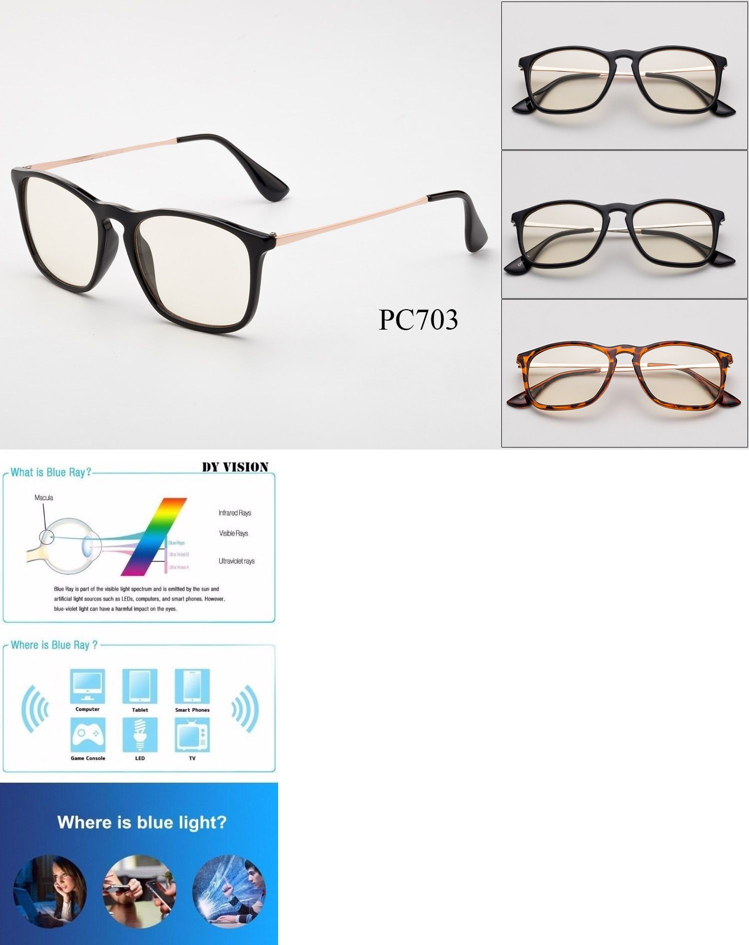 30df3ed9a1 Other Vision Care 31416  Blue Light Blocking Glasses Keyhole Anti Glare  Computer Reading Strain Relief
