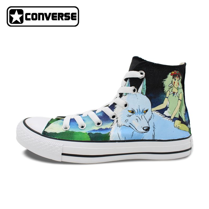 Custom Design Hand Painted Shoes Anime Princess Mononoke Wolf