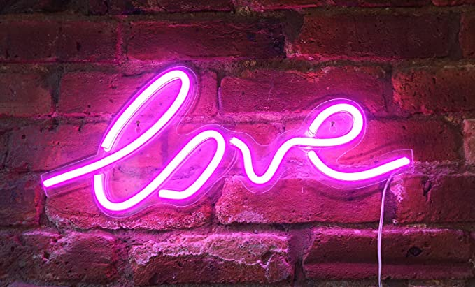 """Isaac Jacobs 17.5"""" x 7"""" inch LED Neon Pink """"Love"""" Wall"""