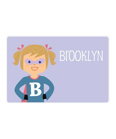 Another great find on #zulily! Dark Blonde Pigtail Superhero Personalized Place Mat #zulilyfinds