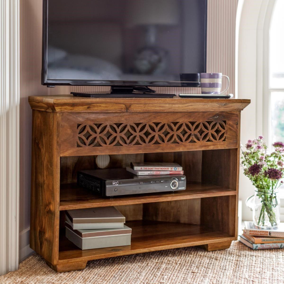 Jasmeen Corner Tv Unit Wooden Tv Cabinet Corner Tv Cabinets Corner Tv Shelves