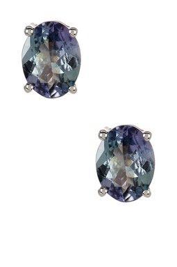 Sterling Silver Tanzanite Stud Earrings