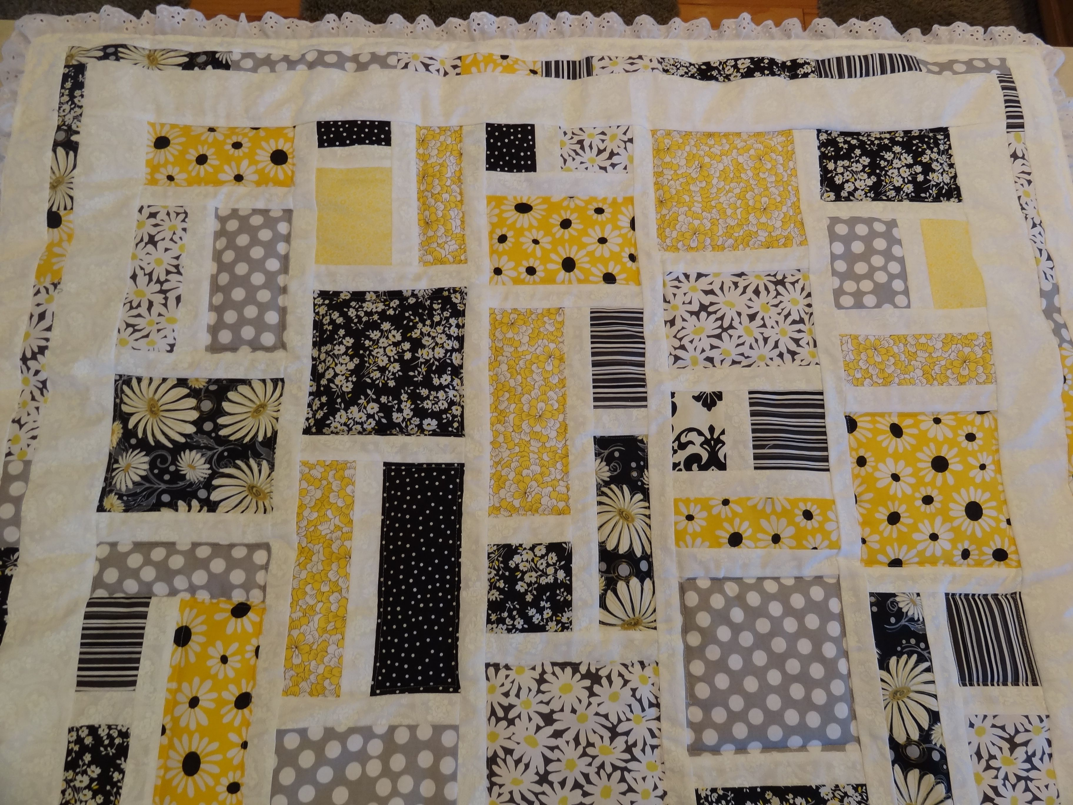Yellow And Black Baby Quilt Yellow Quilts Quilts Grey Quilt