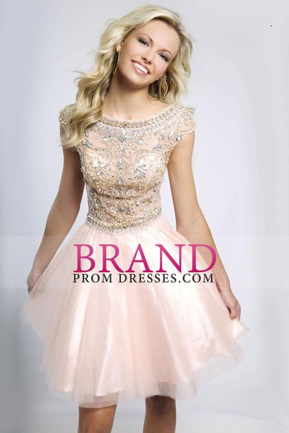 2014 New Arrival Homecoming Dresses A Line Scoop Short/Mini Tulle With Shining Beadings $ 194.99 BPPZ28S2MZ - BrandPromDresses.com for mobile