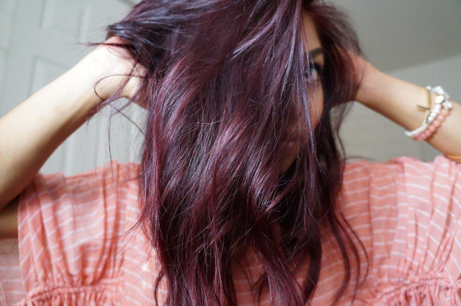 Plum Highlights On Brunette Hair Teaseblendglam Beautyfashiondiy
