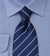 Elegant Striped Necktie in Navy and Light Blue