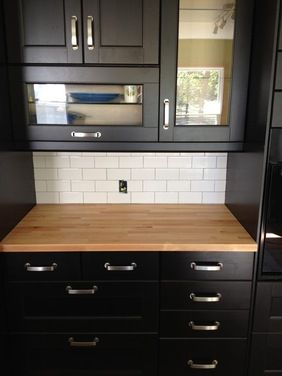Black Cabinets And Butcher Block Countertops