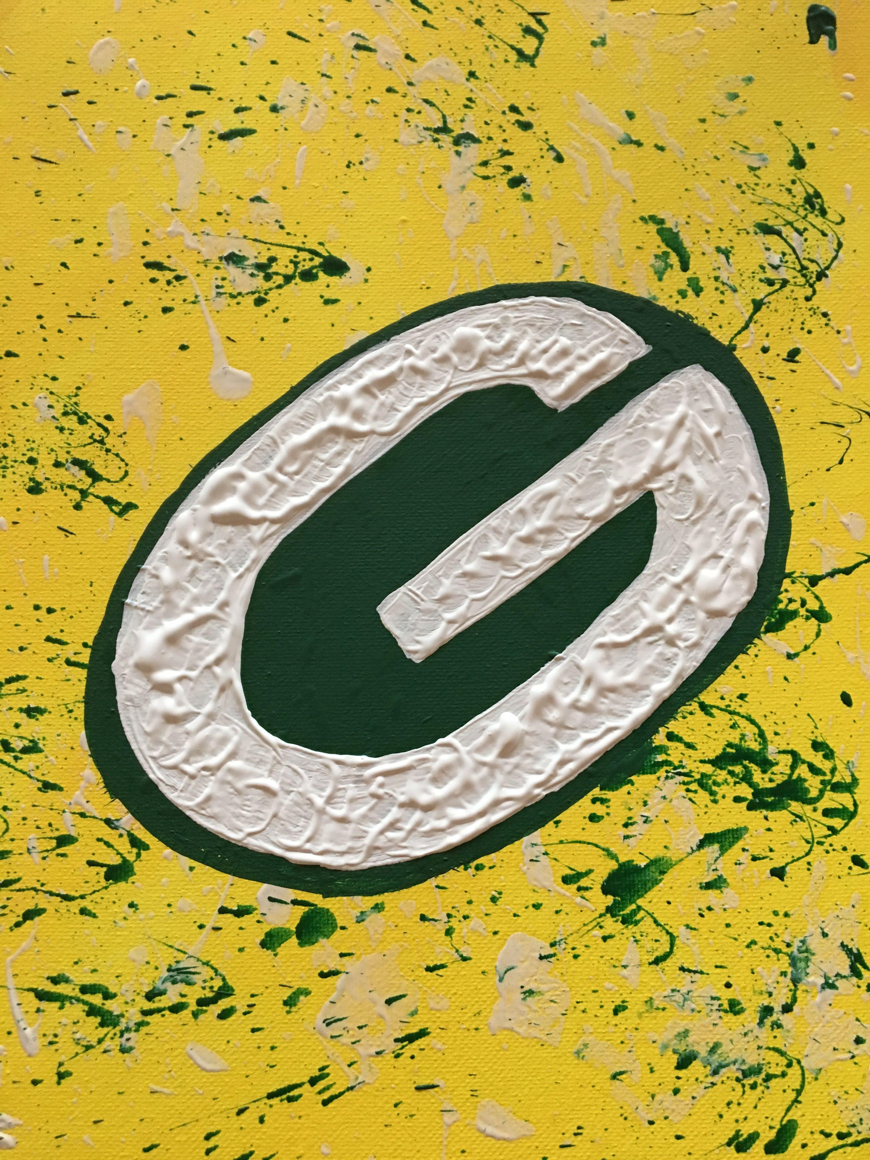Green Bay Packers Logo Crayon Splatter Painting Green Bay Packers Logo Painting Paint Splatter