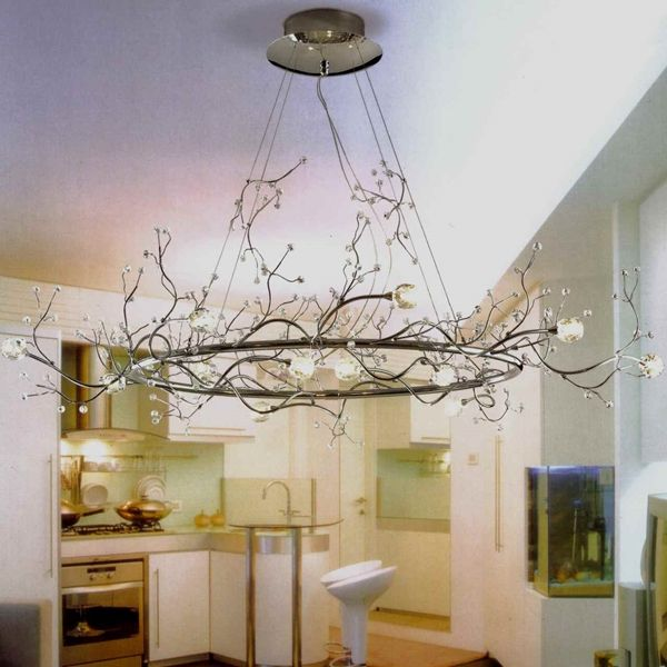 40 Albero Modern Crystal Branch Oval Chandelier Polished Chrome 8