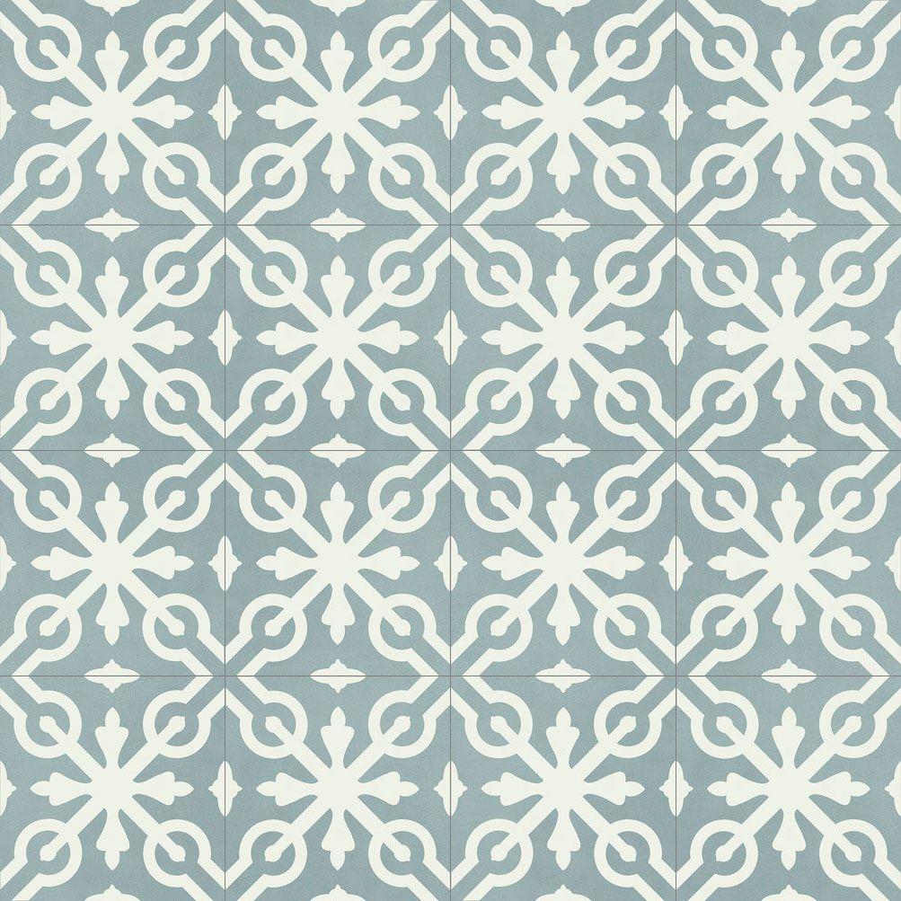 »Zementfliese Serie CASTILLO Dekorfliese 5 Blaugrau/weiß