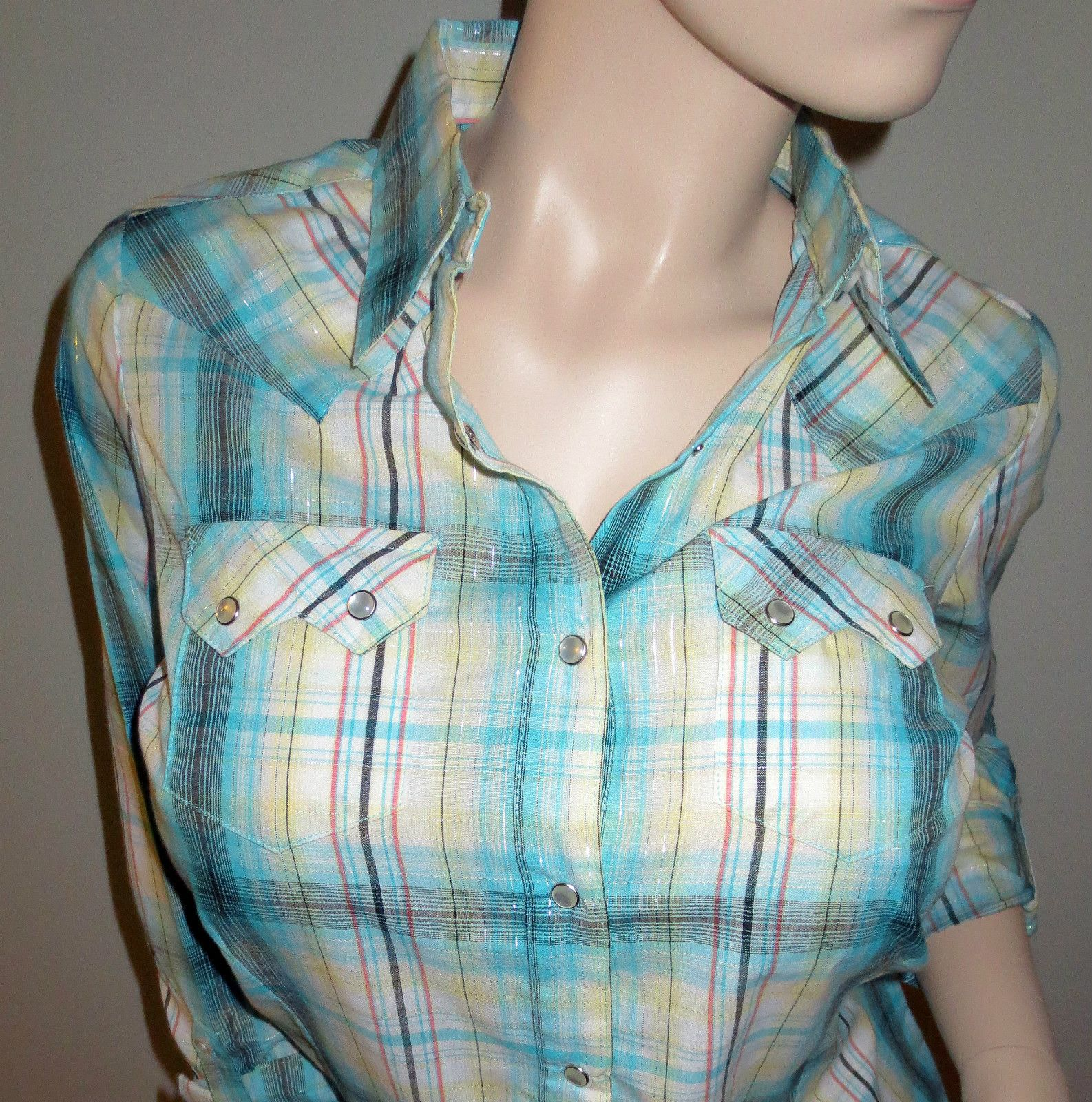 Wrancher by Wrangler Western Wear Long Sleeve Blue Plaid Shirt Medium New ~ CALLING ALL COWGIRLS ~ On Sale