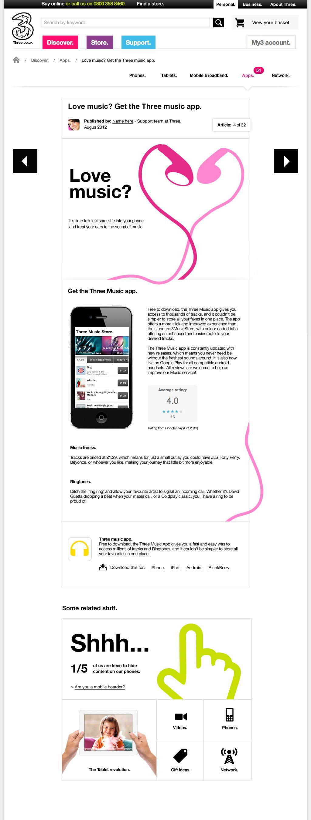 Three.co.uk designed by Music app, App, Music