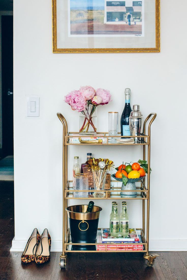 How to Style a Bar Cart & Stock it for New Year\'s Eve | Bar carts ...