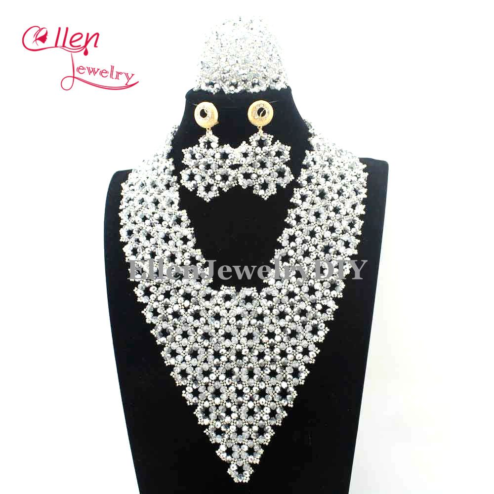 New latest fashion silver indian bridal women jewelry set statement