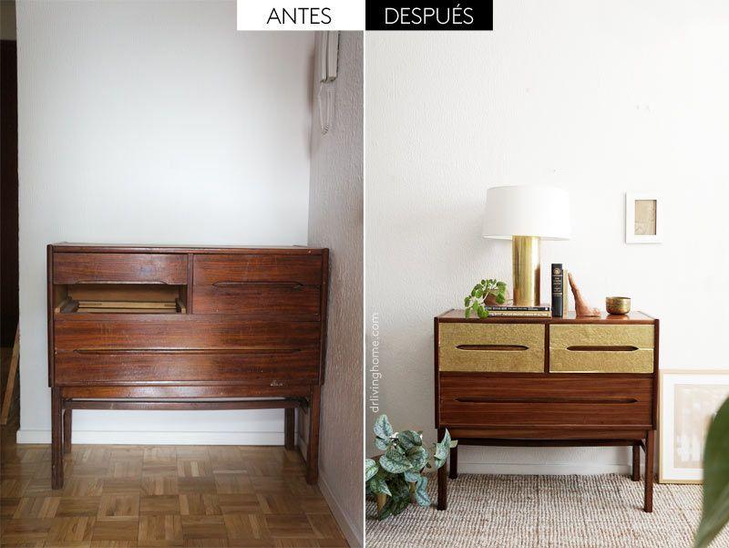 Cómo renovar un mueble viejo con láminas de latón   ideas recicla ...