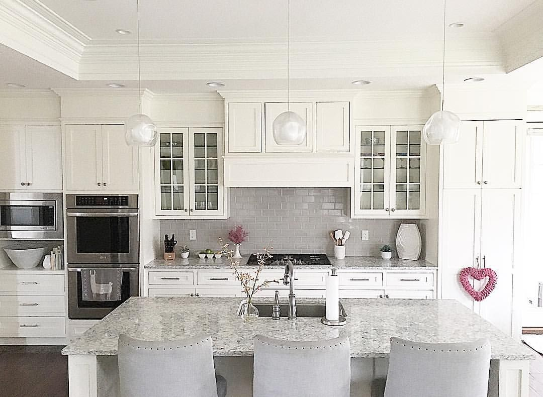 White Kitchen With Grey Subway Tile Backsplash And Shaker Cabinets Benjamin Moore White Dove Trendy Kitchen Tile Quartz Backsplash Gray Subway Tile Backsplash
